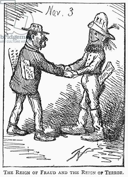 PRESIDENTIAL ELECTION, 1868 'The Reign of Fraud and the Reign of Terror.' American cartoon by Thomas Nast, 1868, on the alliance between Tammany Hall corruption and Ku Klux Klan terrorism, as demonstrated in that year's presidential election.