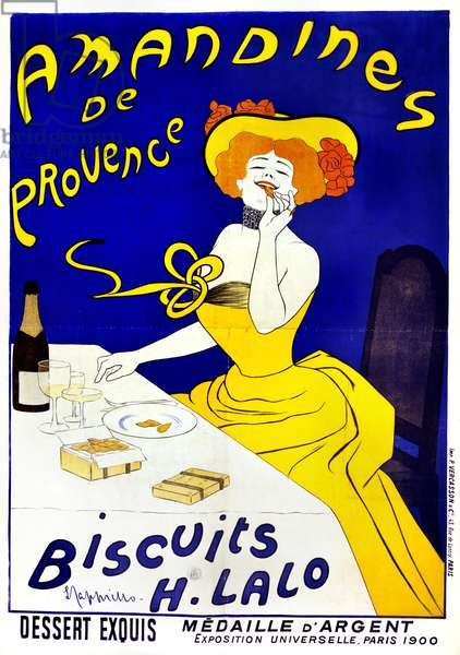 POSTER: COOKIES, c.1900 'Amandines de Provence. Biscuits H. Lalo.' Lithograph by Leonetto Cappiello, c.1900.