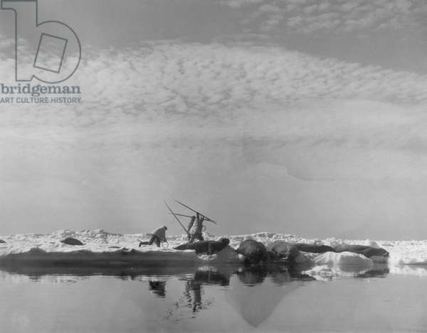 ESKIMOS HUNTING WALRUS in Alaska, c.1932.
