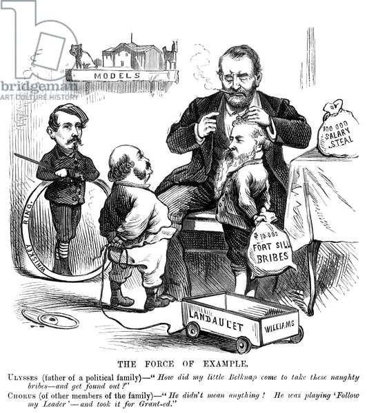 "ULYSSES S. GRANT (1822-1885) 18th President of the United States. An anti-Grant cartoon of 1876 referring to the ""Ring"" scandals."