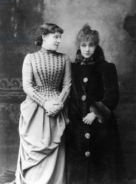 SARAH BERNHARDT (1844-1923) French actress. Photographed with British actress Lillie Langtry in c.1887.