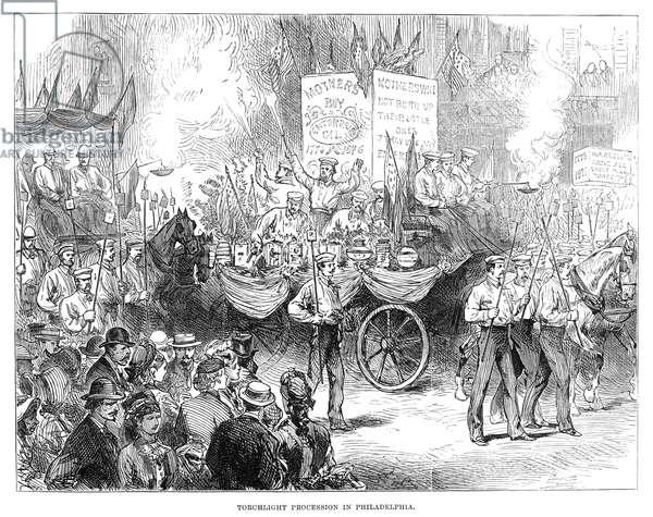 CENTENNIAL PARADE, 1876 Centennial parade by torchlight through Philadelphia, Pennsylvania, 4 July 1876. Contemporary English engraving.