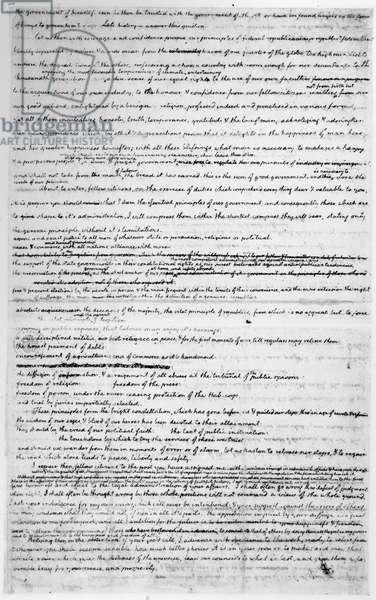 JEFFERSON: INAUGURATION Thomas Jefferson's handwritten draft of his inaugural address, 1801.