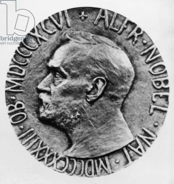 NOBEL PRIZE: PEACE Obverse of the Nobel Peace Prize medal, first awarded in 1901, bearing the likeness of Swedish chemist and engineer Alfred Nobel (1833-1896), who established the fund for the prizes.