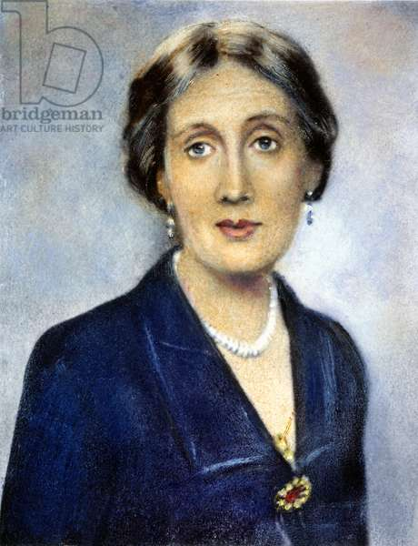 VIRGINIA WOOLF (1882-1941) English writer. Oil over a photograph, 1932.