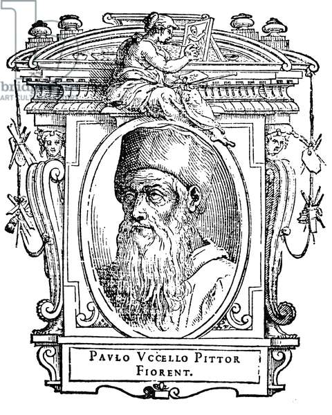 PAOLO UCCELLO (1397-1475) Florentine painter. Woodcut from the 1568 edition of Giorgio Vasari's 'Lives of the Painters,' the first illustrated edition.