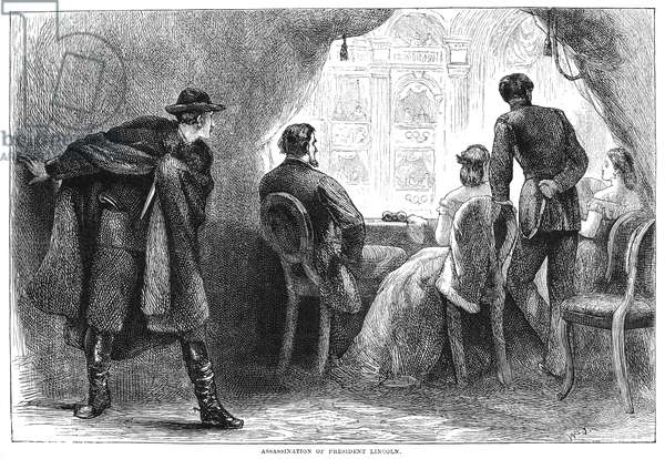 LINCOLN ASSASSINATION The assassination of President Abraham Lincoln by John Wilkes Booth at Ford's Theatre, Washington, D.C., 14 April 1865. Wood engraving, 19th century.