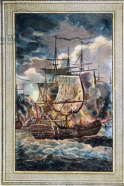 BONHOMME RICHARD, 1779 The engagement between Bonhomme Richard and HMS Serapis off Flamborough Head, 23 September 1779. Contemporary English engraving.