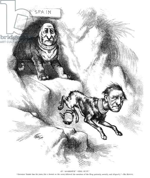 "NAST: TILDEN CARTOON, 1876 'An ""Aggressive"" ""Still Hunt."" ""Governor Tilden has for years, like a hound on the scent, followed the members of the Ring patiently, secretly, and diligently."" -Mr. Hewitt.' Cartoon by Thomas Nast, 1876, mocking Samuel J. Tilden's fear of Boss Tweed (as the Tammany Tiger)."