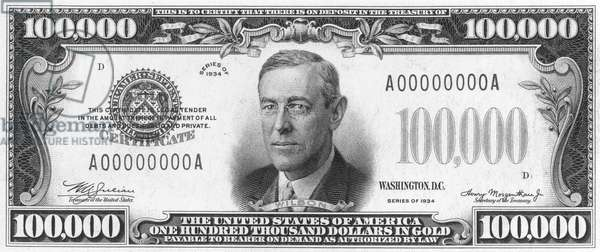 CURRENCY: 100,000 DOLLAR BILL. The front of a U.S one hundred thousand dollar note.