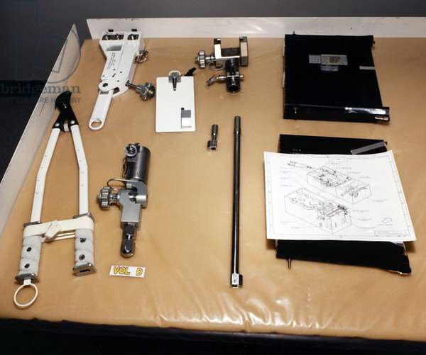 ASTRONAUT TOOLS, 1993 Tools used by astronauts during extravechicular activity. Photograph, 1993.