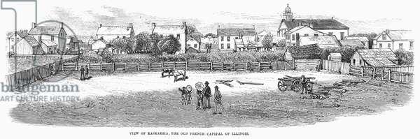 ILLINOIS: KASKASKIA, 1877 View of Kaskaskia, Illinois. Wood engraving, 1877.