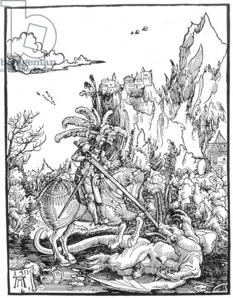 ST. GEORGE AND THE DRAGON German woodcut, 1511, by Albrecht Altdorfer.