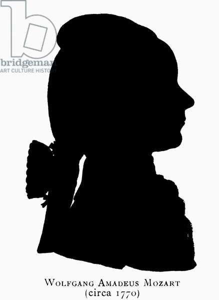 WOLFGANG AMADEUS MOZART (1756-1791). Austrian composer. Silhouette of Mozart at about 14 years old, c.1770.