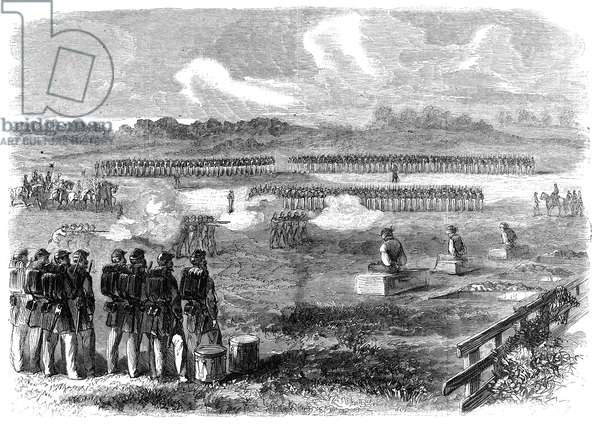 CIVIL WAR: EXECUTION, 1863 The execution by firing squad of three Union deserters: wood engraving from an American newspaper of 1863.