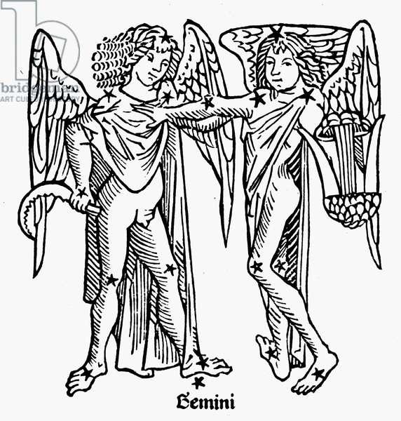 ZODIAC: GEMINI, 1482 Gemini, the twins. Zodiacal woodcut from Gaius Julius Hyginus' 'Poeticon Astronomicon,' printed at Venice, Italy, 1482.