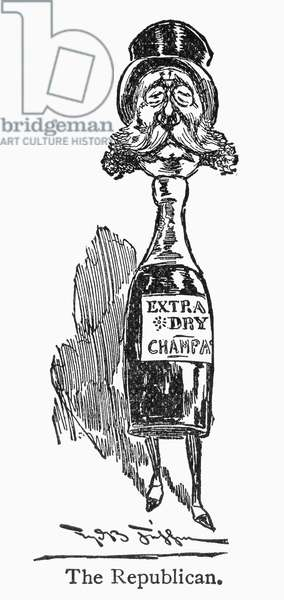 REPUBLICAN VOTER, c.1896 The Republican voter, characterized by his drink of choice, champagne. Cartoon engraving, American, c.1896.