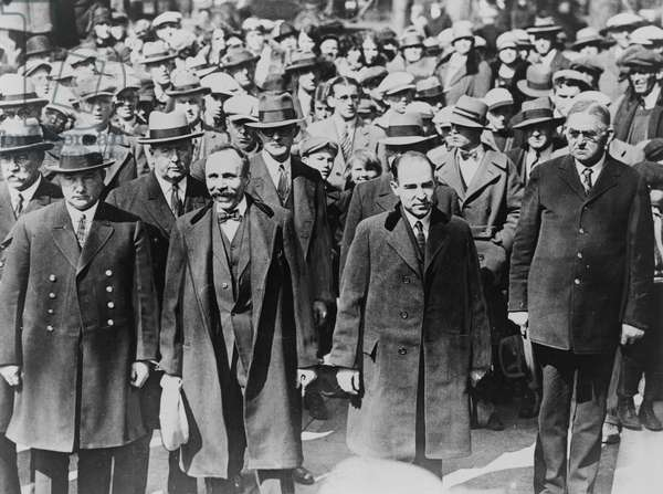 SACCO & VANZETTI, 1927 Nicola Sacco and Bartolomeo Vanzetti, Italian-American anarchists convicted of murder and robbery in 1921. Photographed outside of the courthouse in Dedham, Massachusetts, 1927.