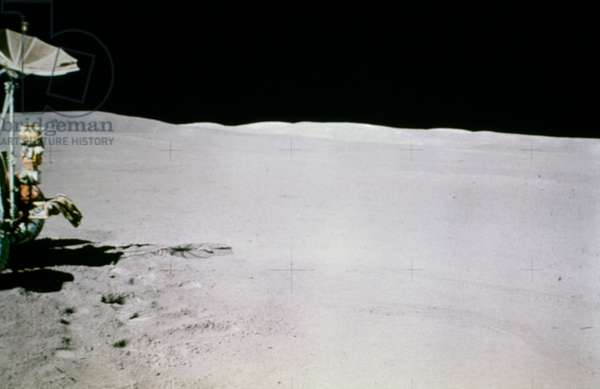 APOLLO 15: MOON, 1971 A view of part of the Lunar Rover and the Hadley Apennine landing area on the moon. Photograph, July-August 1971.