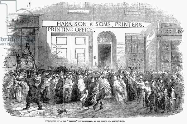 CRIMEAN WAR: NEWS, 1854 A crowd outside the Harrison & Sons printing office in London, waiting for the publication of news from the Crimean War. Wood engraving, English, 1854