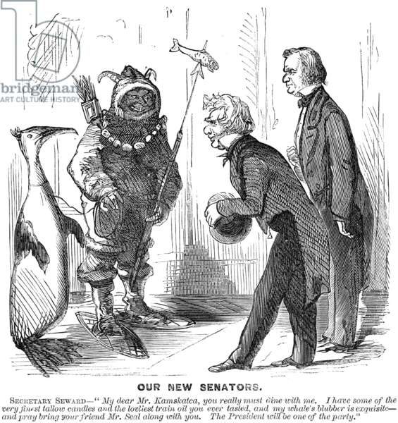CARTOON: ALASKA PURCHASE, 1867. An American cartoon on the Alaska purchase showing Secretary of State William H. Seward and President Andrew Johnson welcoming the representatives of the new territory to Washington, D.C. Cartoon, 1867.