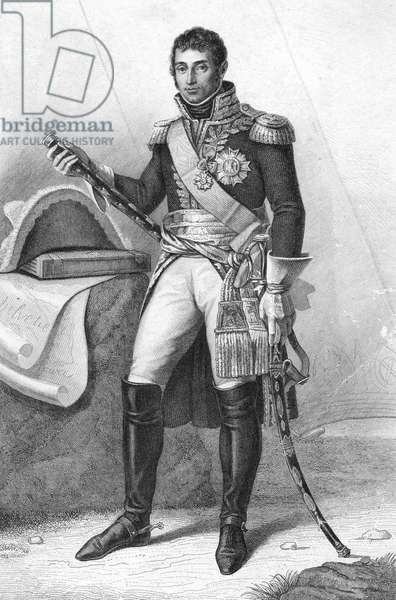 ANDRÉ MASSENA (1758-1817) French general. Line engraving after a painting by Jean-Antoine Gros, mid 19th century.