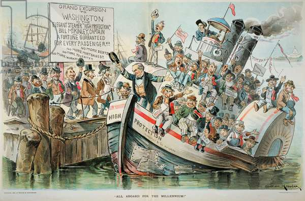 McKINLEY CARTOON, 1896 'All Aboard for the Millennium.' An anti William McKinley cartoon of 1896.
