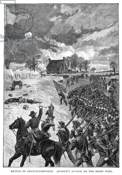 CHANCELLORSVILLE, 1863 Stonewall Jackson's attack on the right wing at the Battle of Chancellorsville, Virginia, during the American Civil War, 2-4 May 1863. Wood engraving, 19th century.