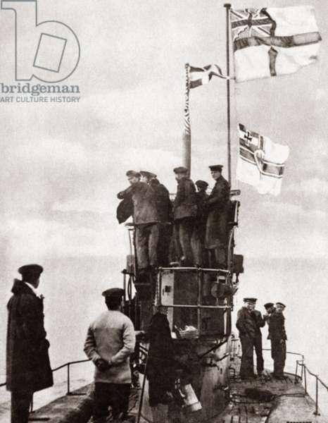 WORLD WAR I: U-BOAT. Close up of surrendered German U-Boat 48 on its way to Harwich Harbor. Photograph, c.1918.