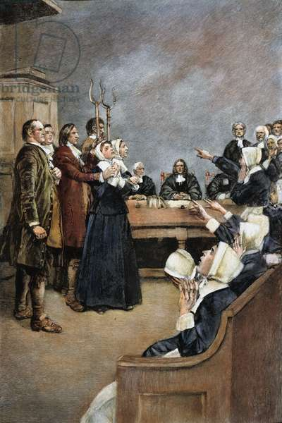 TRIAL OF TWO WITCHES, Salem, Massachusetts, in 1692. Illustration by Howard Pyle.