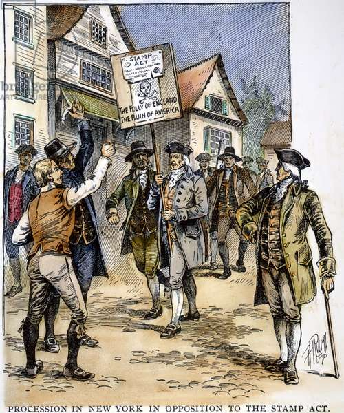 NEW YORK: STAMP ACT , 1765 A procession in New York, 1765, in opposition to the Stamp Act: wood engraving, American, 19th century.