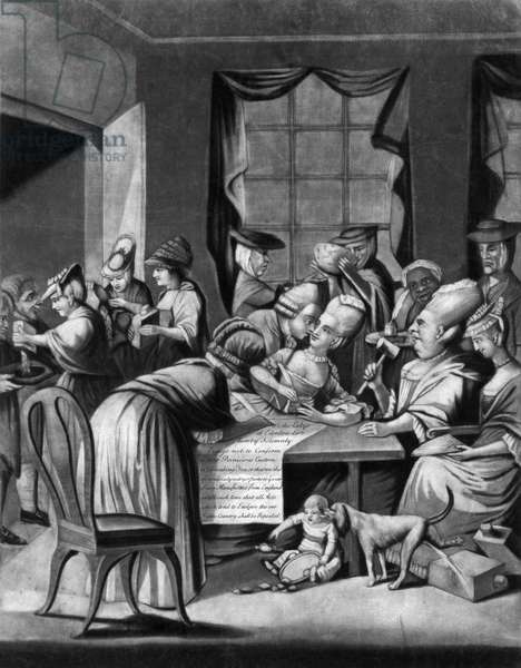 BOYCOTT OF BRITISH TEA 'A Society of Patriotic Ladies, at Edenton in North Carolina.' English mezzotint satire, 1775, on the meeting attended by fifty-one women on 25 October 1774 when a resolution not to drink English tea was passed and signed.