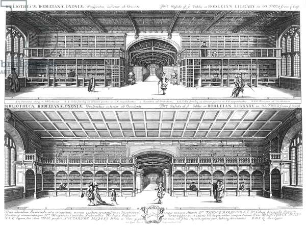OXFORD: BODLEIAN LIBRARY Interior of the Bodleian Library at Oxford University, England. Copper engraving, 1675, by David Loggan.
