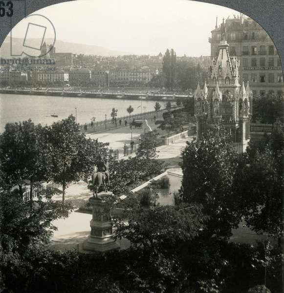 SWITZERLAND: GENEVA 'Lovely Geneva, home of the League of Nations, Switzerland.' Stereograph, c.1920.