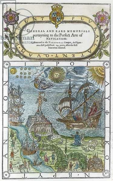 DEE: NAVIGATION, 1577 Title page of 'General and Rare Memorials pertayning to the Perfect Arte of Navigation,' 1577, by John Dee, astrologer to Queen Elizabeth I (who is depicted at right aboard ship).