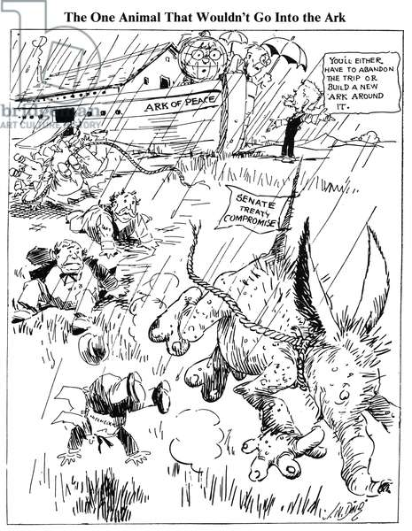 LEAGUE OF NATIONS CARTOON A 1920 cartoon by J.N. ('Ding') Darling on the Senate battle, led by Senator Henry Cabot Lodge, against President Woodrow Wilson's Versailles Treaty and League of Nations.