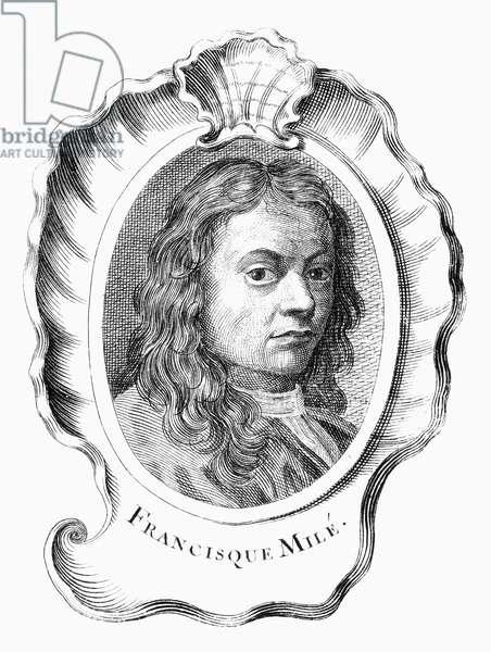 FRANCISQUE MILLET ( c.1642-1679). Né Jean François Millet. French (Flemish-born) painter. Copper engraving, French, 18th century.