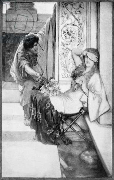 ALMA-TADEMA: 'SHY.'  Engraving from an oil painting, 1883, by Sir Lawrence Alma-Tadema (1836-1912).