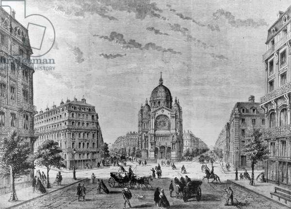 PARIS: RENOVATION, 19th C Municipal renovation of a Paris neighborhood, ordered by Baron Haussmann. Line engraving, 19th century.