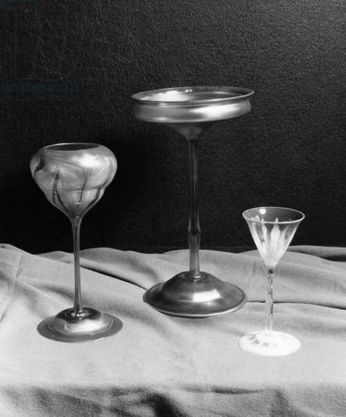 TIFFANY GLASSES Three glasses by Louis Comfort Tiffany. Photograph, c.1955.