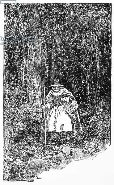 A SALEM WITCH, 1692 The 'witch,' Sarah 'Granny' Good, executed in Salem, Massachusetts, in 1692. Wood engraving, 1892, after Howard Pyle.