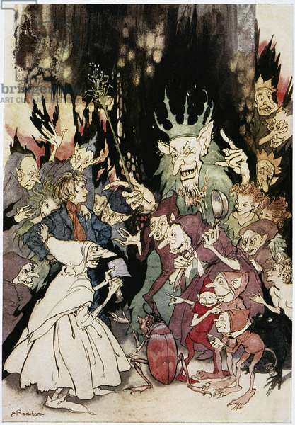 IBSEN: PEER GYNT Peer before the King of the Trolls. Illustration by Arthur Rackham (1867-1939) for an edition of Henrik Ibsen's 'Peer Gynt'.