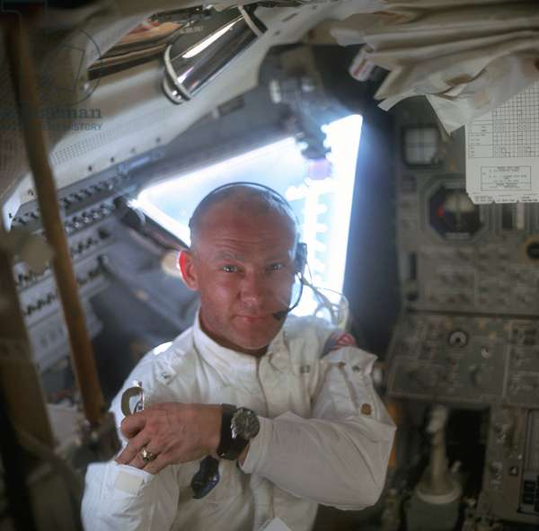 EDWIN 'BUZZ' ALDRIN (1930-) Edwin 'Buzz' Aldrin. American astronaut. Photographed by Neil Armstrong inside the Lunar Module during the Apollo 11 mission, July 1969.