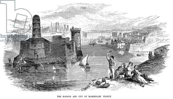 FRANCE: MARSEILLES The harbor and city of Marseilles, France. Wood engraving, mid 19th century.