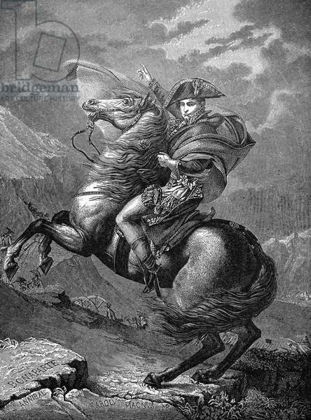 NAPOLEON I (1769-1821) Emperor of France, 1800-1814. Napoleon crossing the Alps, May 1800. Wood engraving after the painting by Jacques Louis David.