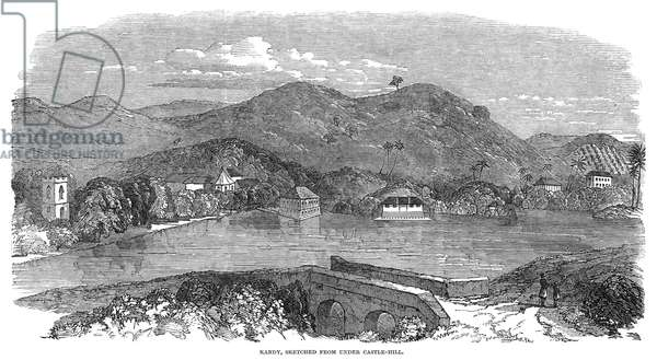 CEYLON: KANDY, 1850 View of the city of Kandy in Ceylon (now Sri Lanka). Engraving, English, 1850.