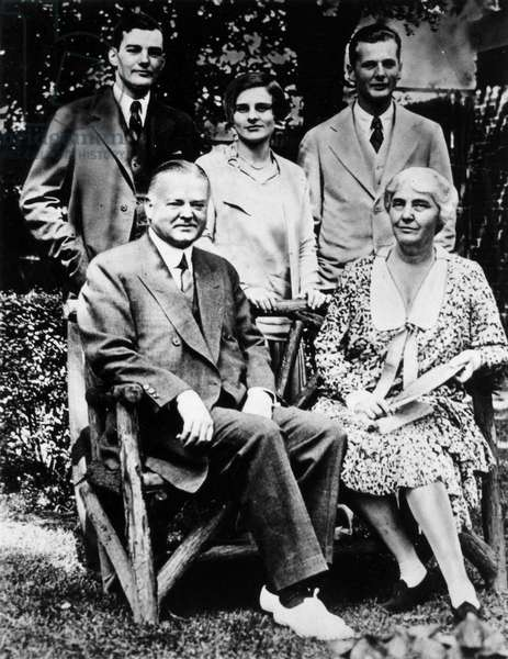 HERBERT HOOVER (1874-1964) 31st President of the United States. Standing: Herbert Hoover Jr., Mrs. Herbert Hoover Jr., Allan Hoover, Seated: President Hoover and First Lady Lou Hoover, c.1930.