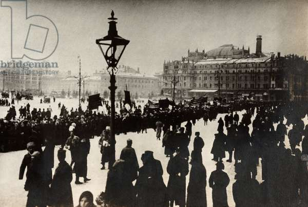 MOSCOW, c.1917 A parade honoring those who died in during the Russian Revolution in Moscow, Russia. Photograph by James Maxwell Pringle, 1917 or 1918.
