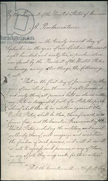 EMANCIPATION PROCLAMATION Page one of Abraham Lincoln's Emancipation Proclamation, 1863.