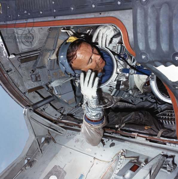 MICHAEL COLLINS (1930- ) American astronaut. Photographed in training in preparation for the Gemini 10 mission. Photograph, 1966.